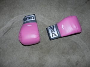 Pink boxing gloves make me smile!!