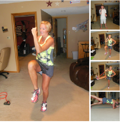 Knee lift with hop Bicep curls Quad extension Plank with leg lift
