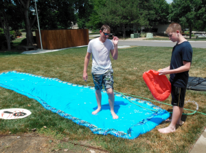 not to old for some slip-n-slide fun