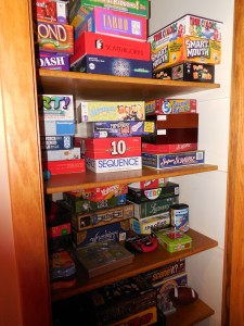 a view into our game closet