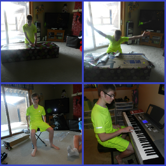 Hunter's big gift this year was a keyboard!!