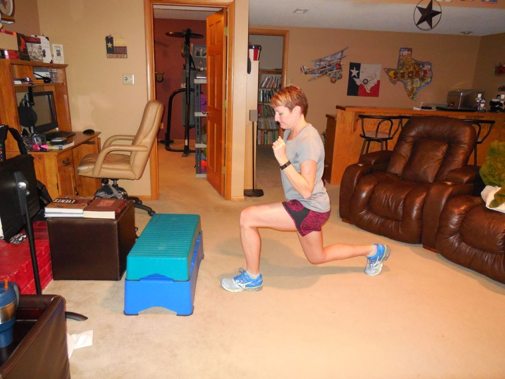lunge back with right leg